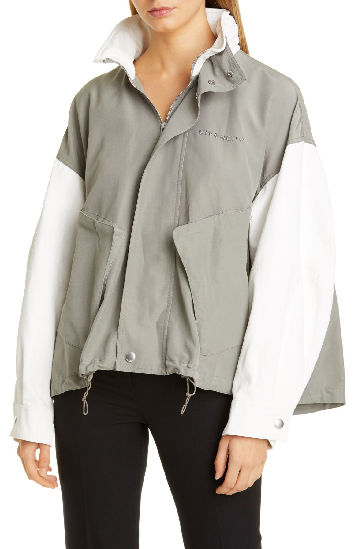 GIVENCHY Two-Tone Cotton Blend Jacket, Main, color, GRAY/ WHITE
