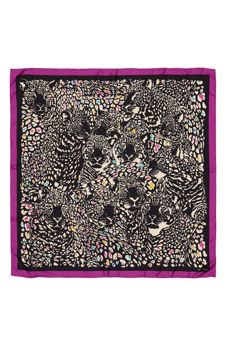 ETRO Leopard Print Square Silk Scarf, Main, color, BLACK MULTI