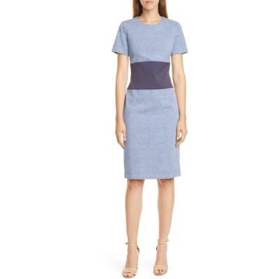 Boss Damalara Textured Check Colorblock Dress, Blue