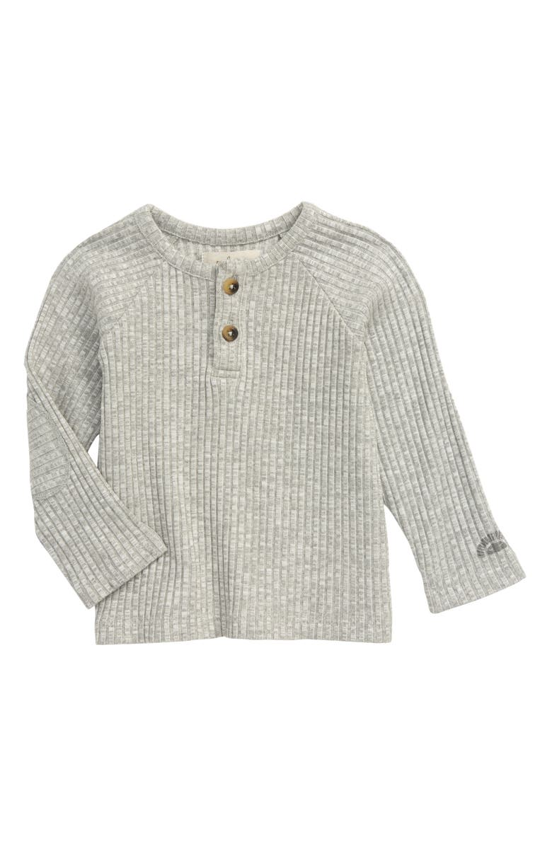 PEEK ESSENTIALS Kinsley Henley Raglan Shirt, Main, color, GREY HEATHER