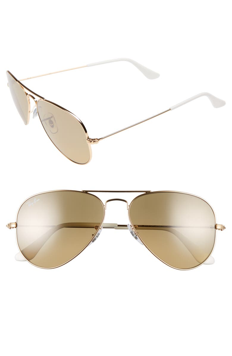 RAY-BAN Small Original 55mm Aviator Sunglasses, Main, color, ARISTA