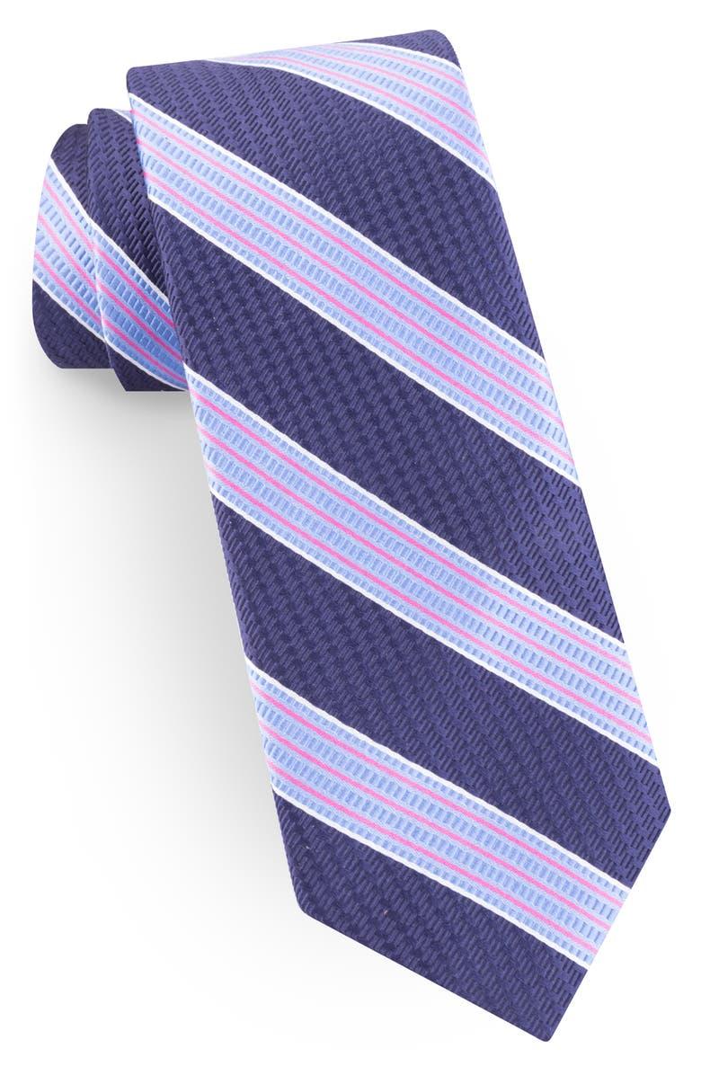 TED BAKER LONDON Stripe Silk Blend Tie, Main, color, NAVY