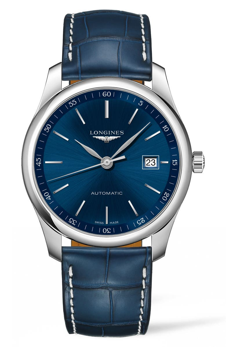 LONGINES Master Automatic Leather Strap Watch, 40mm, Main, color, BLUE/ SILVER