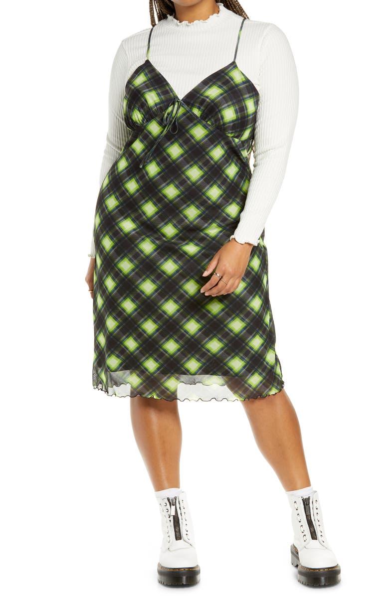 BP. Print Mesh Slipdress, Main, color, BLACK- GREEN ABBY PLAID