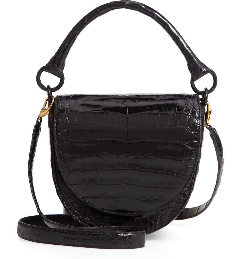 NANCY GONZALEZ Small Teddy Crocodile Leather Crossbody Bag, Main, color, BLACK SHINY
