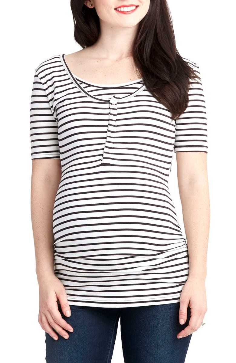 NOM MATERNITY Ruched Nursing/ Maternity Tee, Main, color, 003