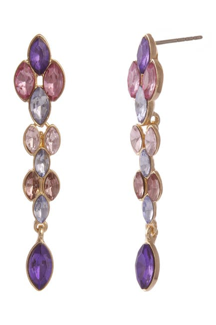 Image of Christian Siriano New York Linear Multi Colored Stone Drop Earrings