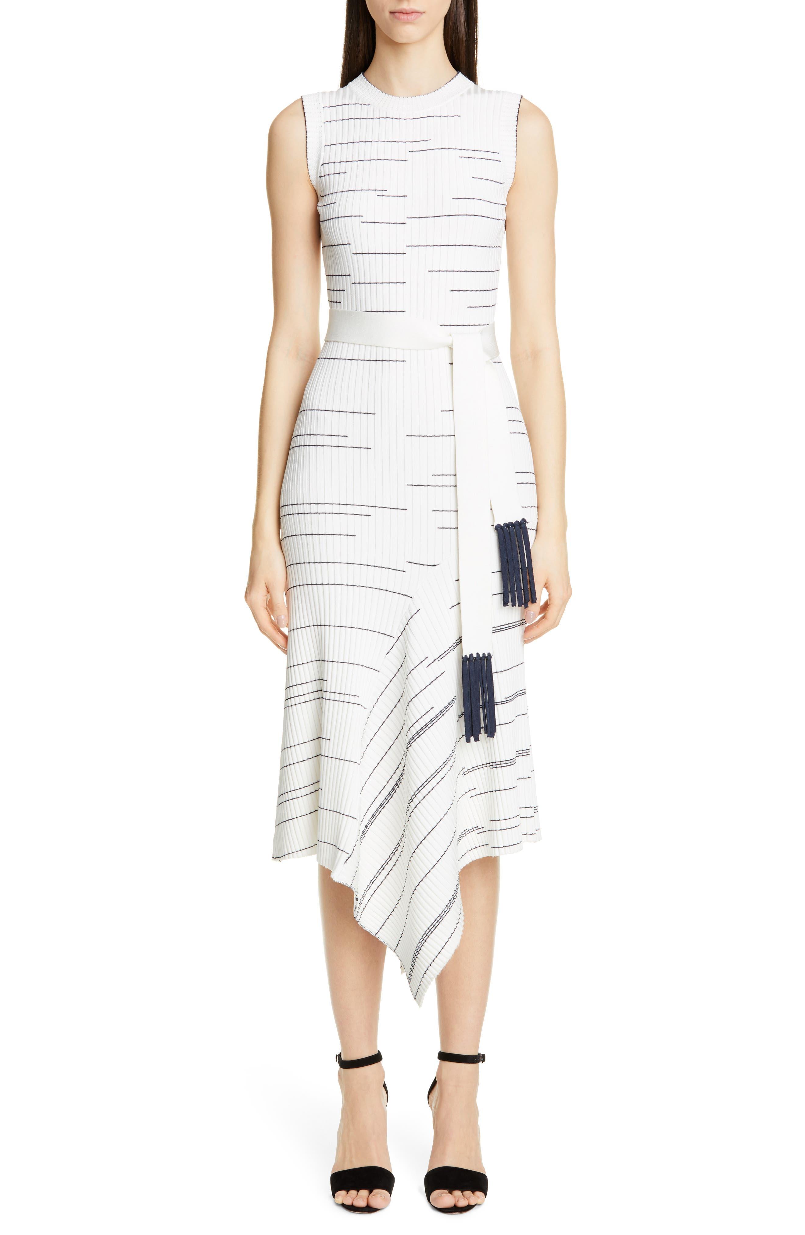 Yigal Azrouel Stripe Rib Asymmetrical Midi Sweater Dress, White