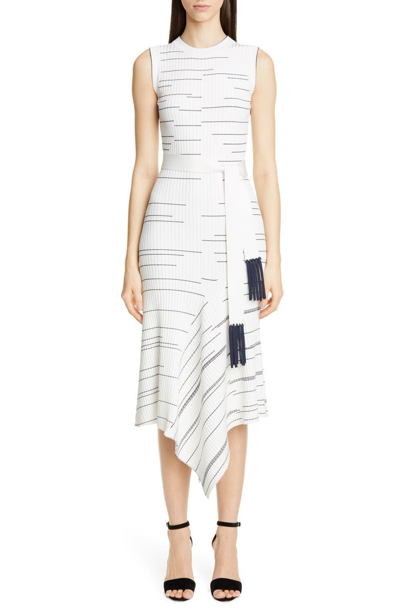 Yigal Azrou L Stripe Rib Asymmetrical Midi Sweater Dress