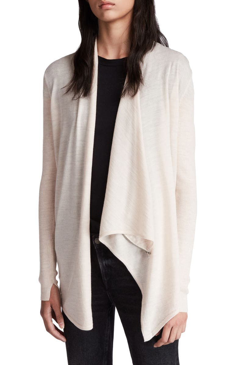 ALLSAINTS Drina Ribbed Cardigan, Main, color, ALMOND PINK MARLED