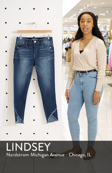 High Waist Frayed Tulip Hem Jeans, sales video thumbnail