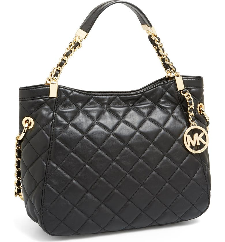 MICHAEL MICHAEL KORS 'Medium Susannah' Quilted Leather Tote, Main, color, 001