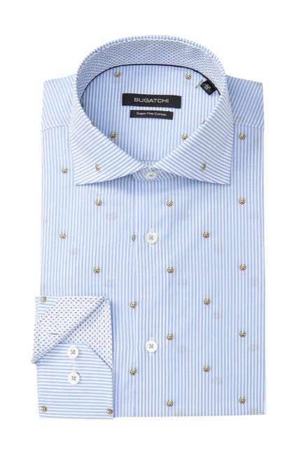 Image of Bugatchi Striped Shaped Fit Dress Shirt