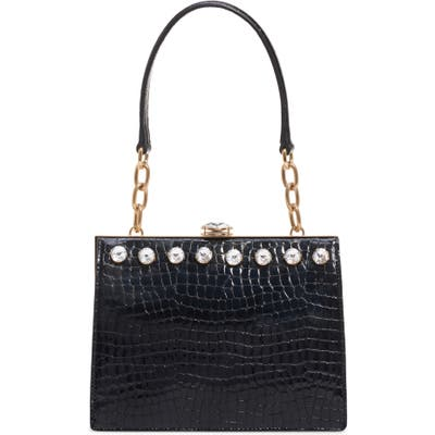 Miu Miu City Lady Croc Embossed Calfskin Leather Shoulder Bag - Black