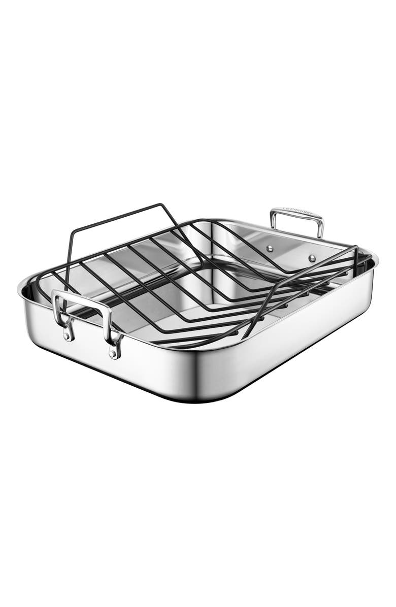 LE CREUSET Large Roasting Pan, Main, color, STAINLESS STEEL