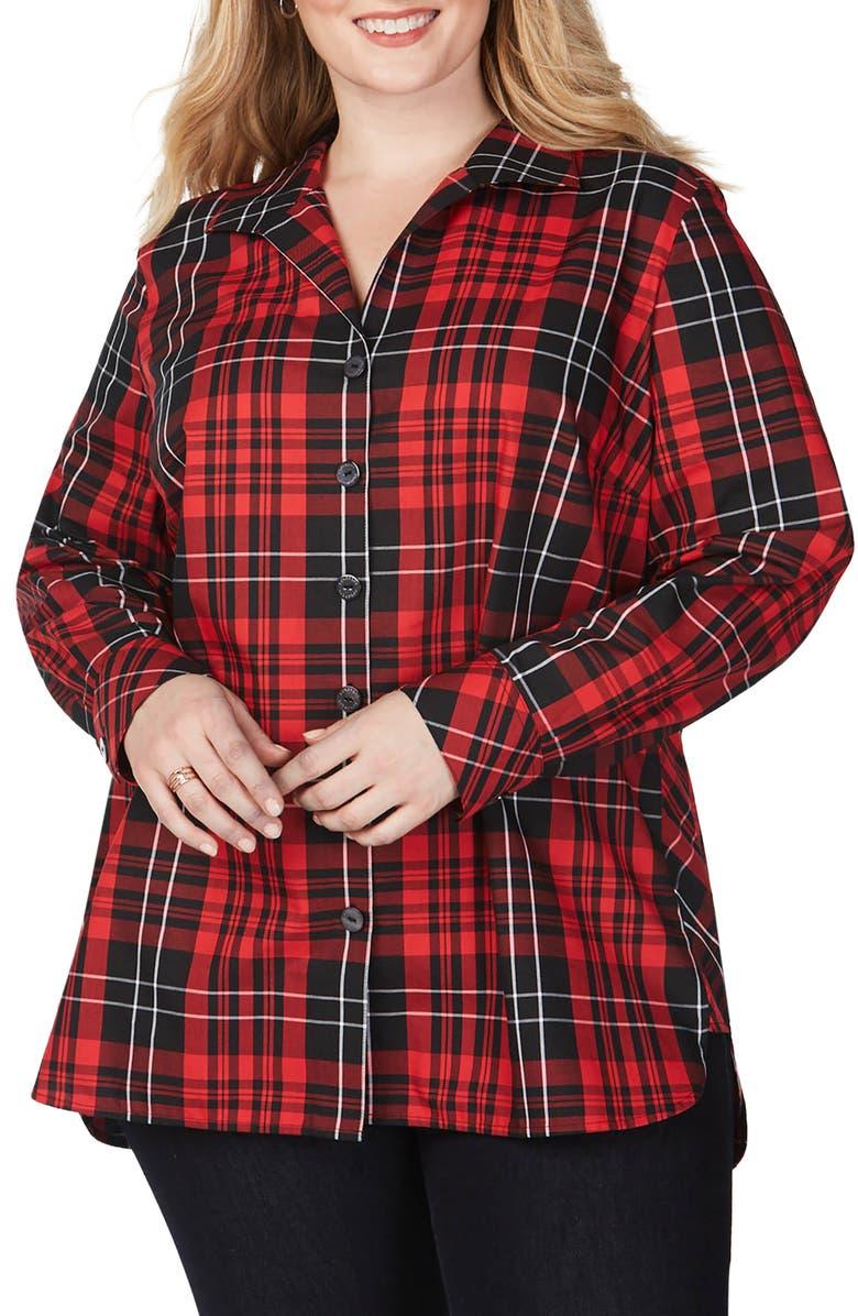 FOXCROFT Pandora Matheson Tartan Wrinkle-Free Shirt, Main, color, BLACK MULTI