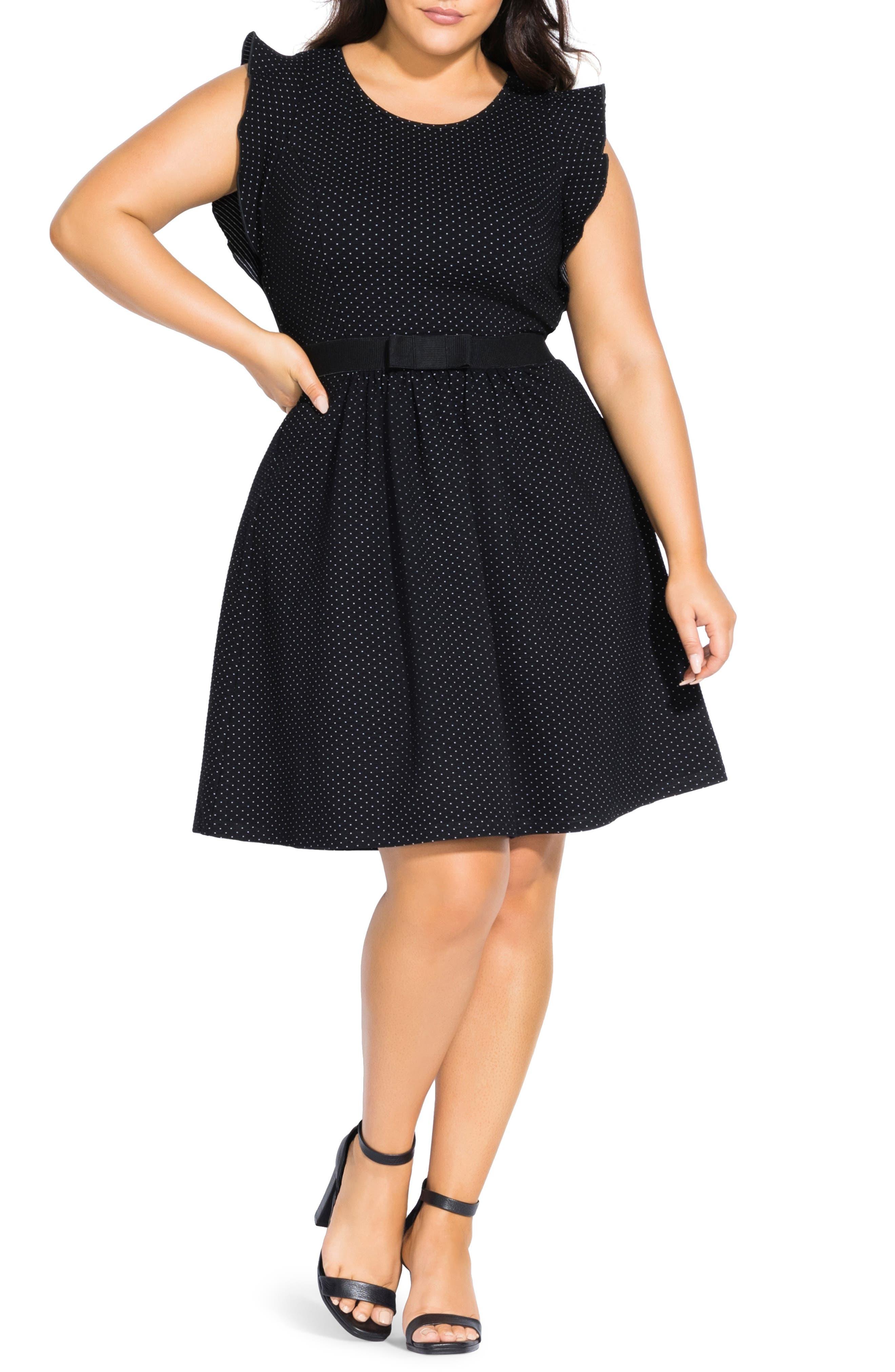 Plus Size City Chic Cutie Fit & Flare Dress, Black