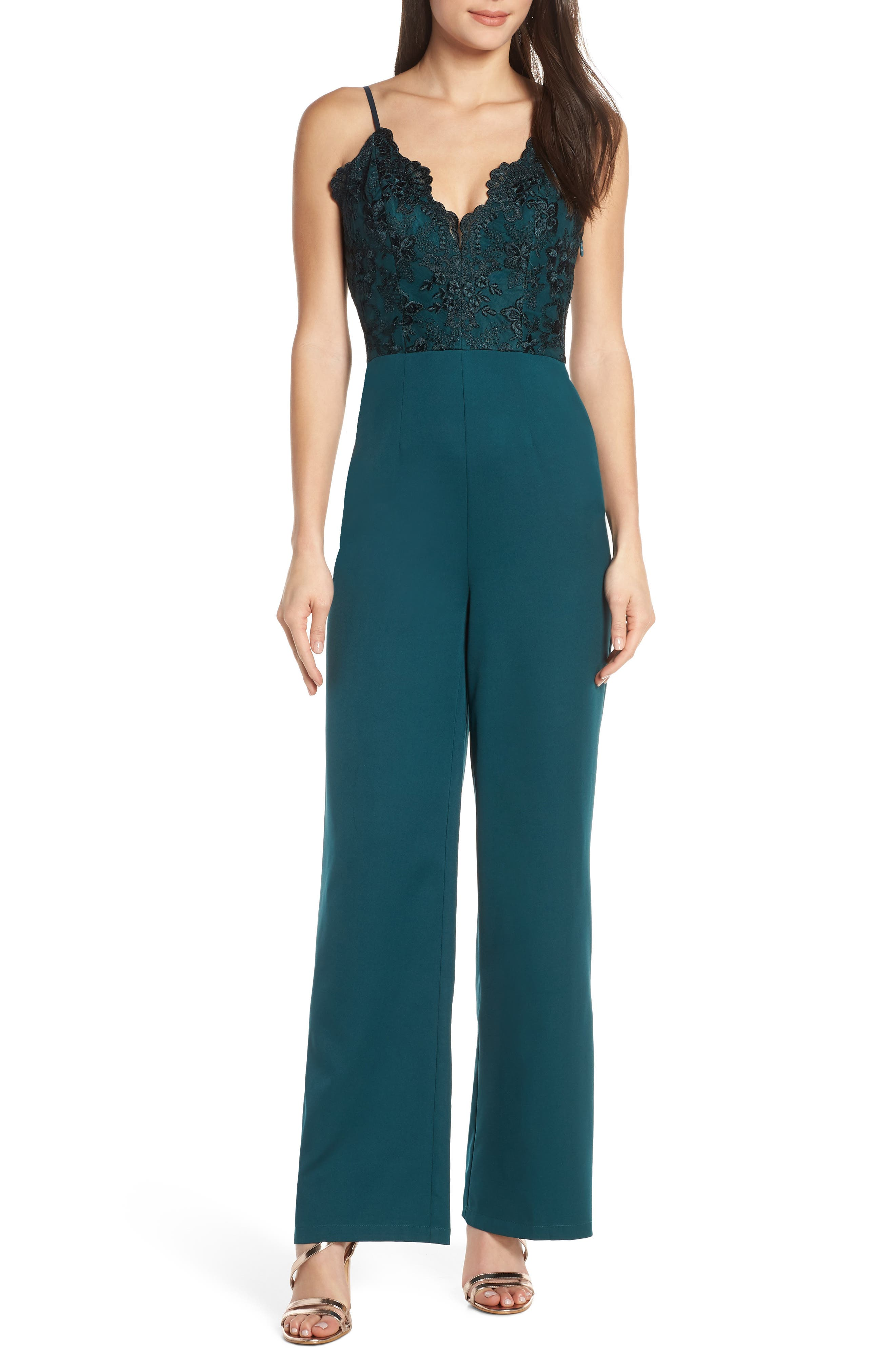 Chi Chi London Lauren Embroidered Bodice Jumpsuit, Green