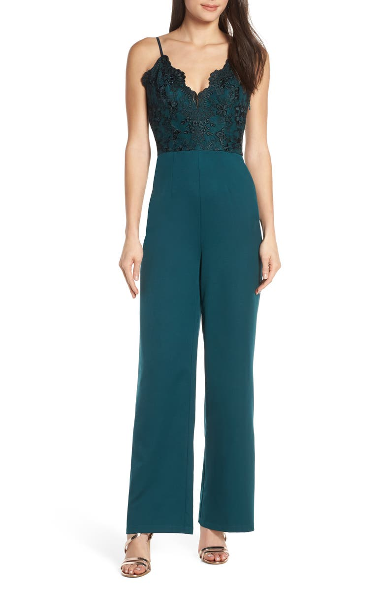 CHI CHI LONDON Lauren Embroidered Bodice Jumpsuit, Main, color, 301