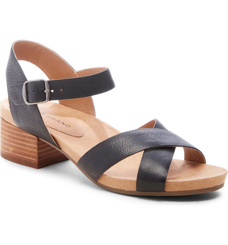 LUCKY BRAND Philana Sandal, Main, color, BLACK LEATHER