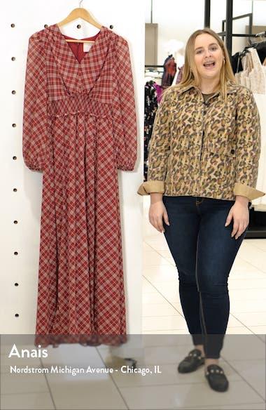 Robyn Plaid Long Sleeve Chiffon Maxi Dress, sales video thumbnail