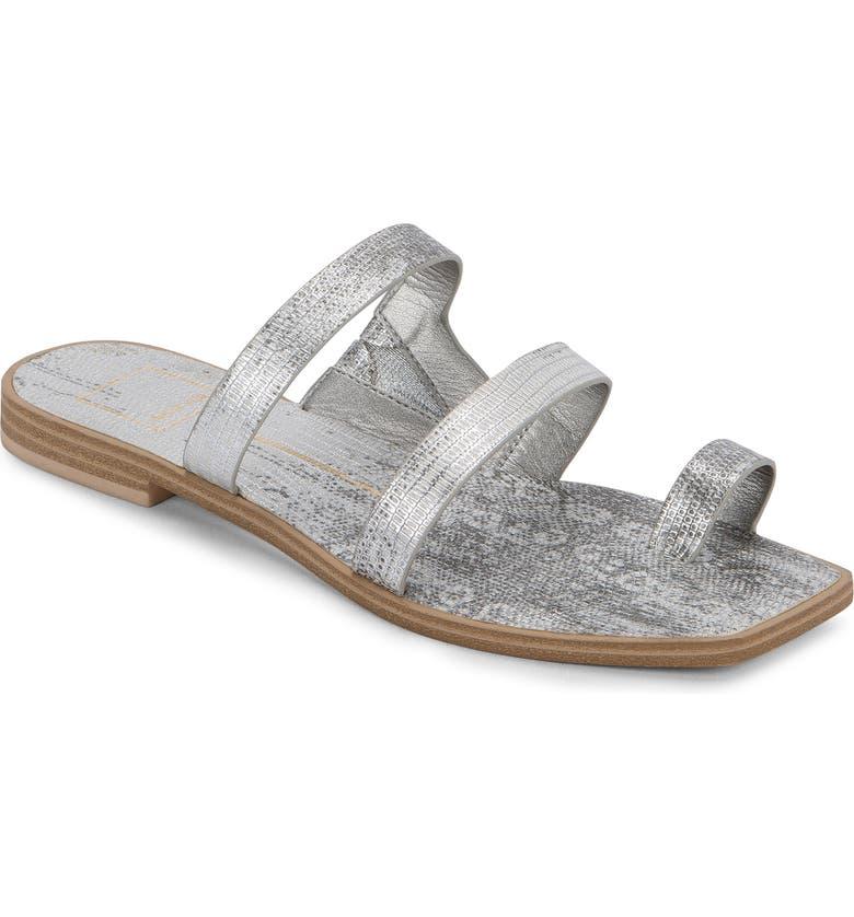 DOLCE VITA Isala 3 Croc Textured Slide Sandal, Main, color, PEWTER EMBOSSED LIZARD