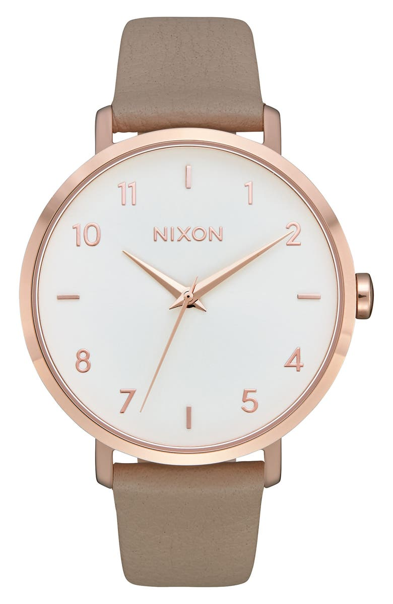 NIXON The Arrow Leather Strap Watch, 38mm, Main, color, GREY/ WHITE/ ROSE GOLD