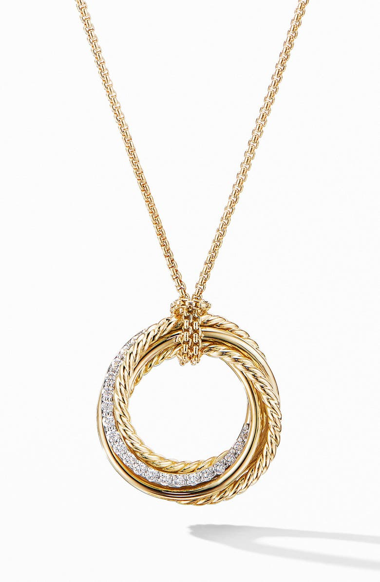 DAVID YURMAN Crossover Pendant Necklace in 18K Yellow Gold with Diamonds, Main, color, GOLD/ DIAMOND
