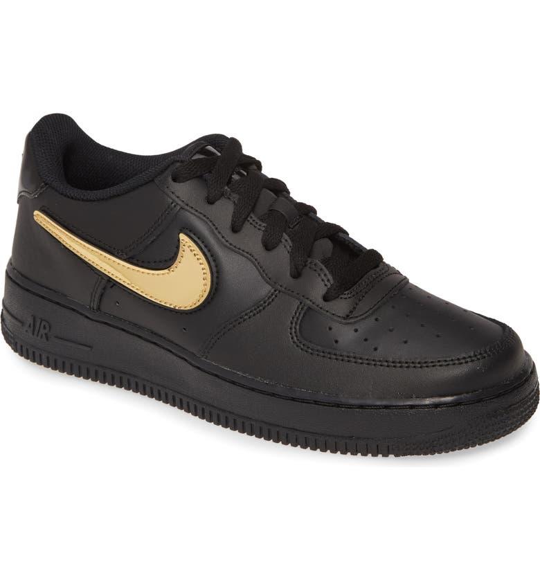 NIKE Air Force 1 LV2 3 GS Sneaker, Main, color, BLACK/ BLACK-BLACK-WHITE