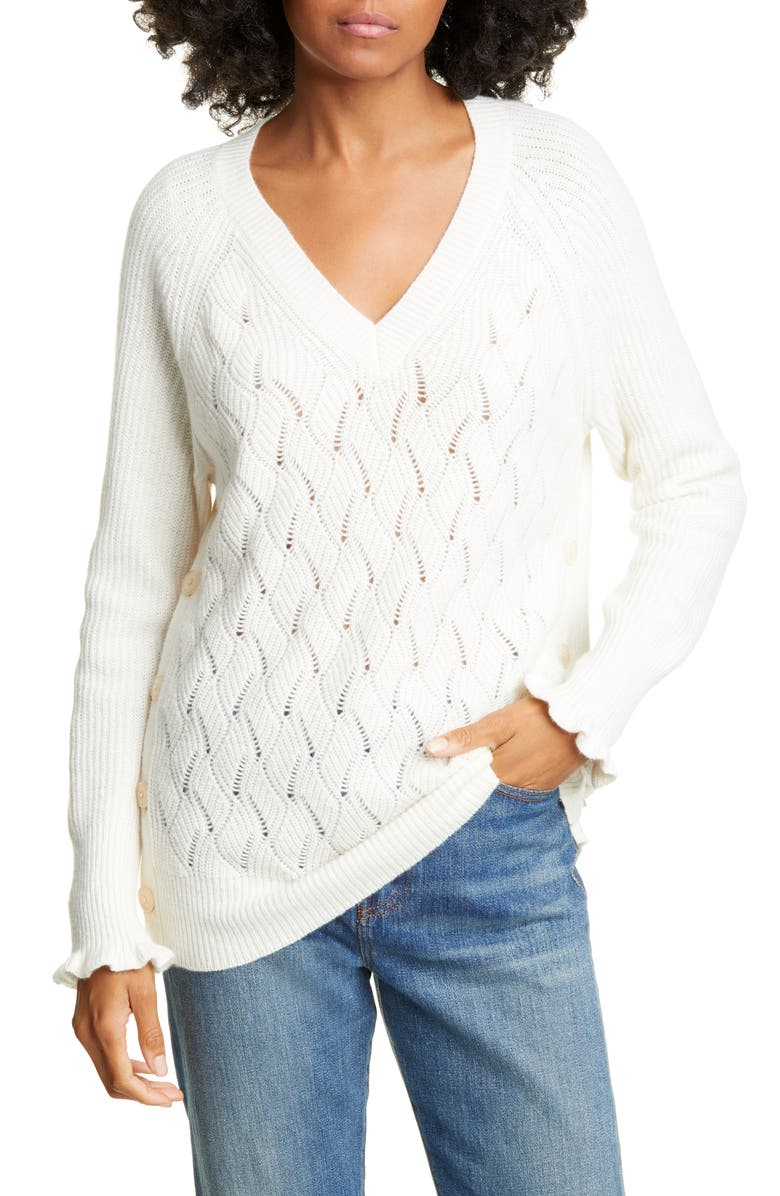 REBECCA TAYLOR Wavy Pointelle Sweater, Main, color, WHITE RABBIT
