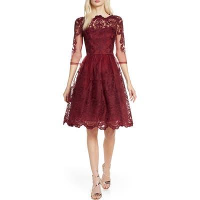Chi Chi London Rosalita Lace Fit & Flare Dress, Red