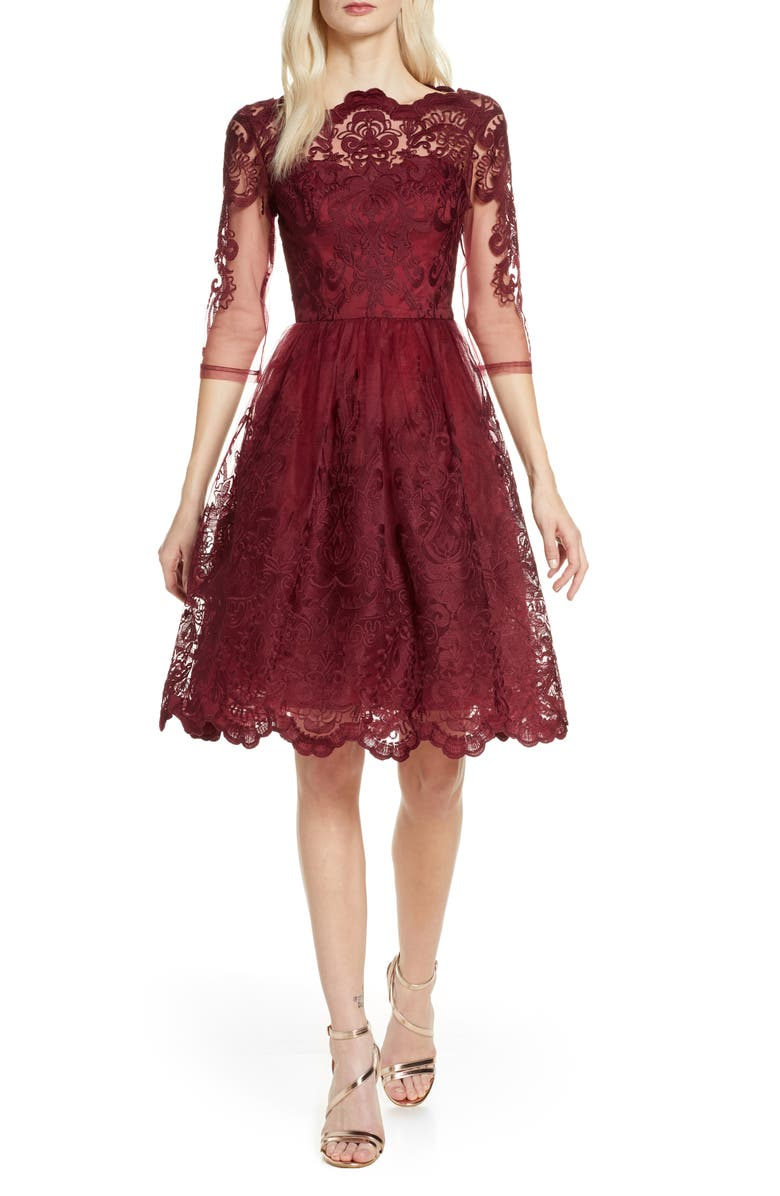 CHI CHI LONDON Rosalita Lace Fit & Flare Dress, Main, color, 607