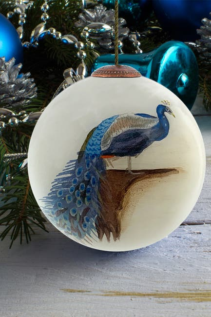 """Image of Overstock Art """"Peacock"""" Archibald Thorburn Hand Painted Glass Ornament Collection - Set of 3"""