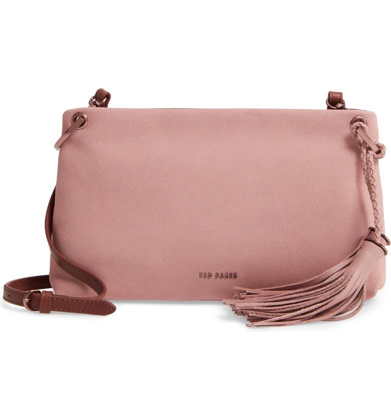 TED BAKER LONDON Demetra Tassel Leather Crossbody Bag, Main, color, 200