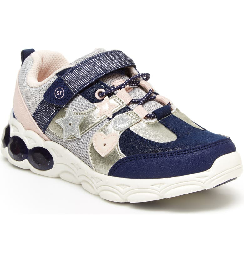 STRIDE RITE Ruby Light-Up Sneaker, Main, color, NAVY