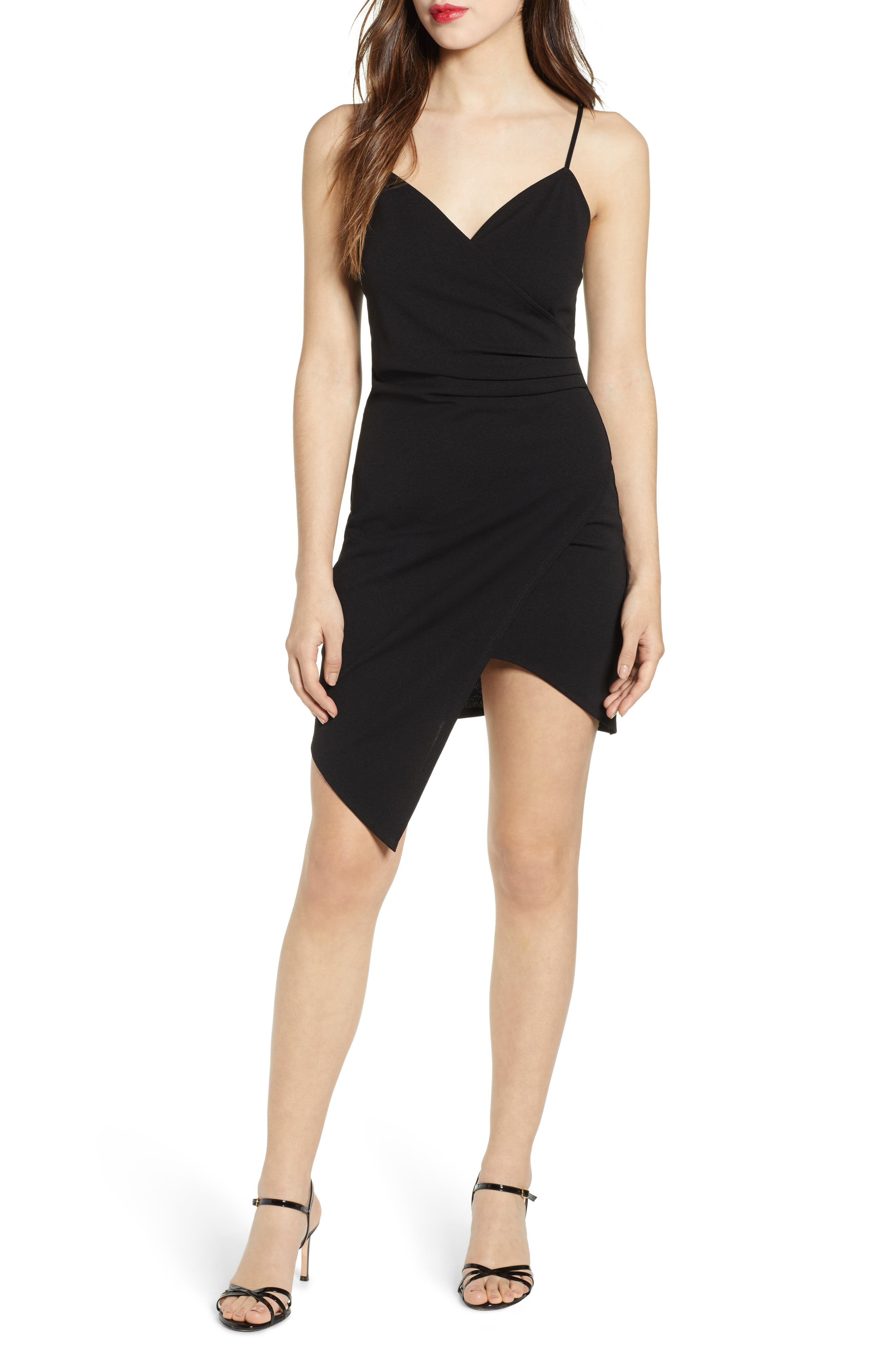 Love, Nickie Lew Asymmetrical Body-Con Dress, Black
