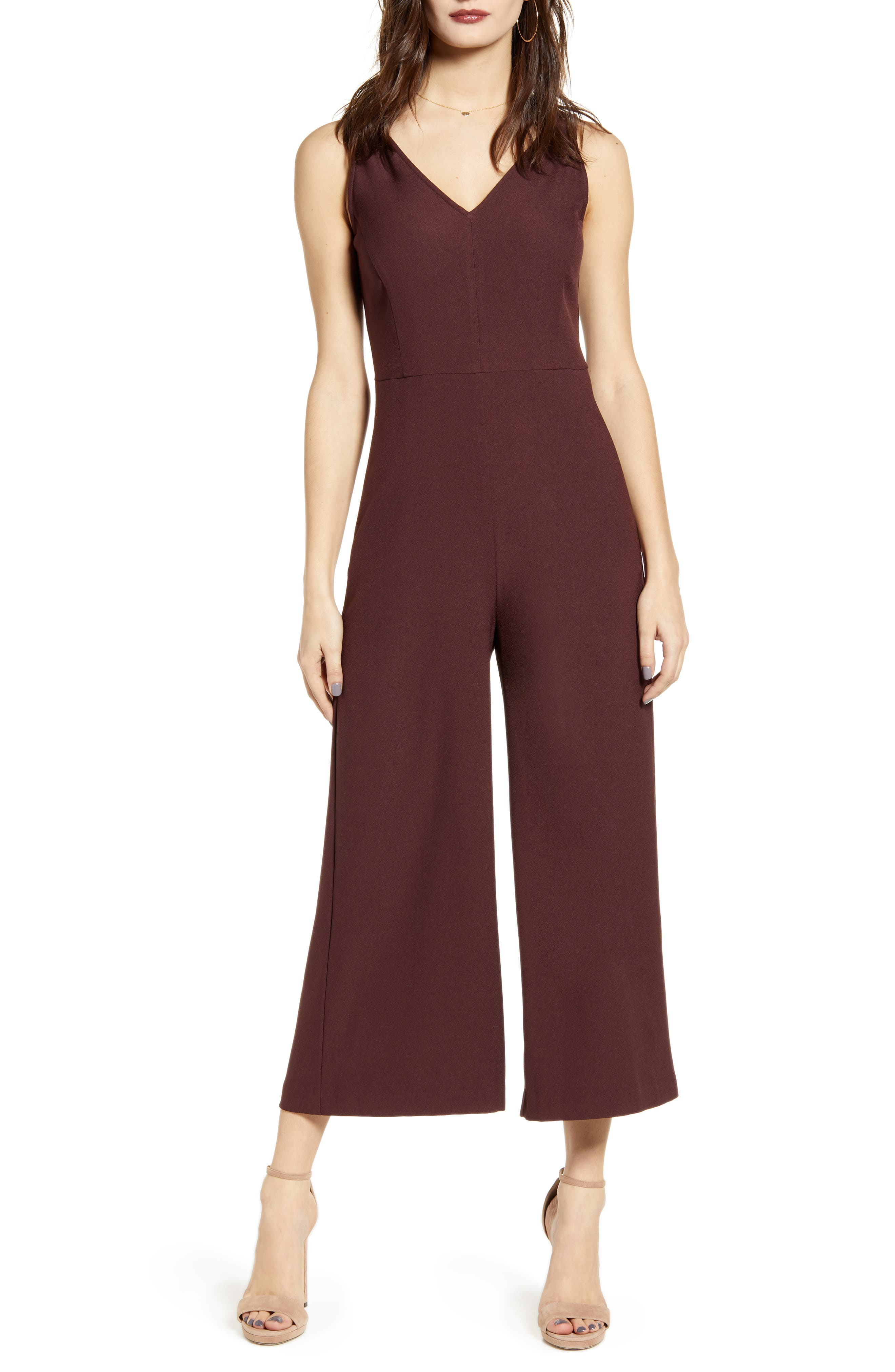 Leith V-Neck Wide Leg Crop Jumpsuit (Regular & Plus Size)