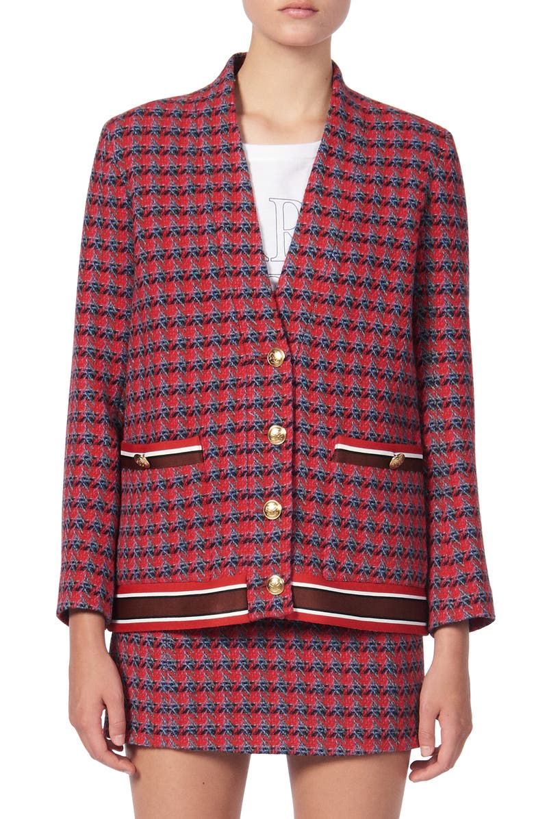 SANDRO Sheni Tweed Wool & Cotton Blend Jacket, Main, color, RED