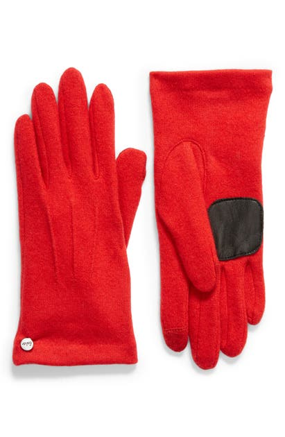 Echo Wool & Cashmere Blend Water Repellent Touchscreen Gloves In Cherry Red