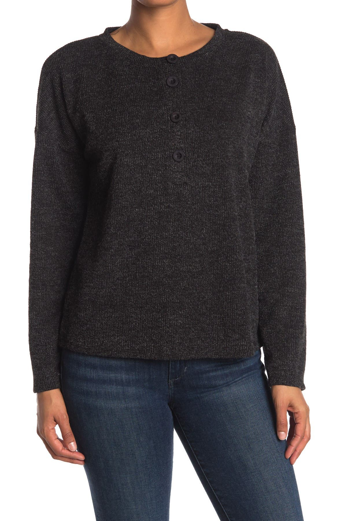 Image of Gibsonlook Ribbed Knit Dolman Sleeve Henley