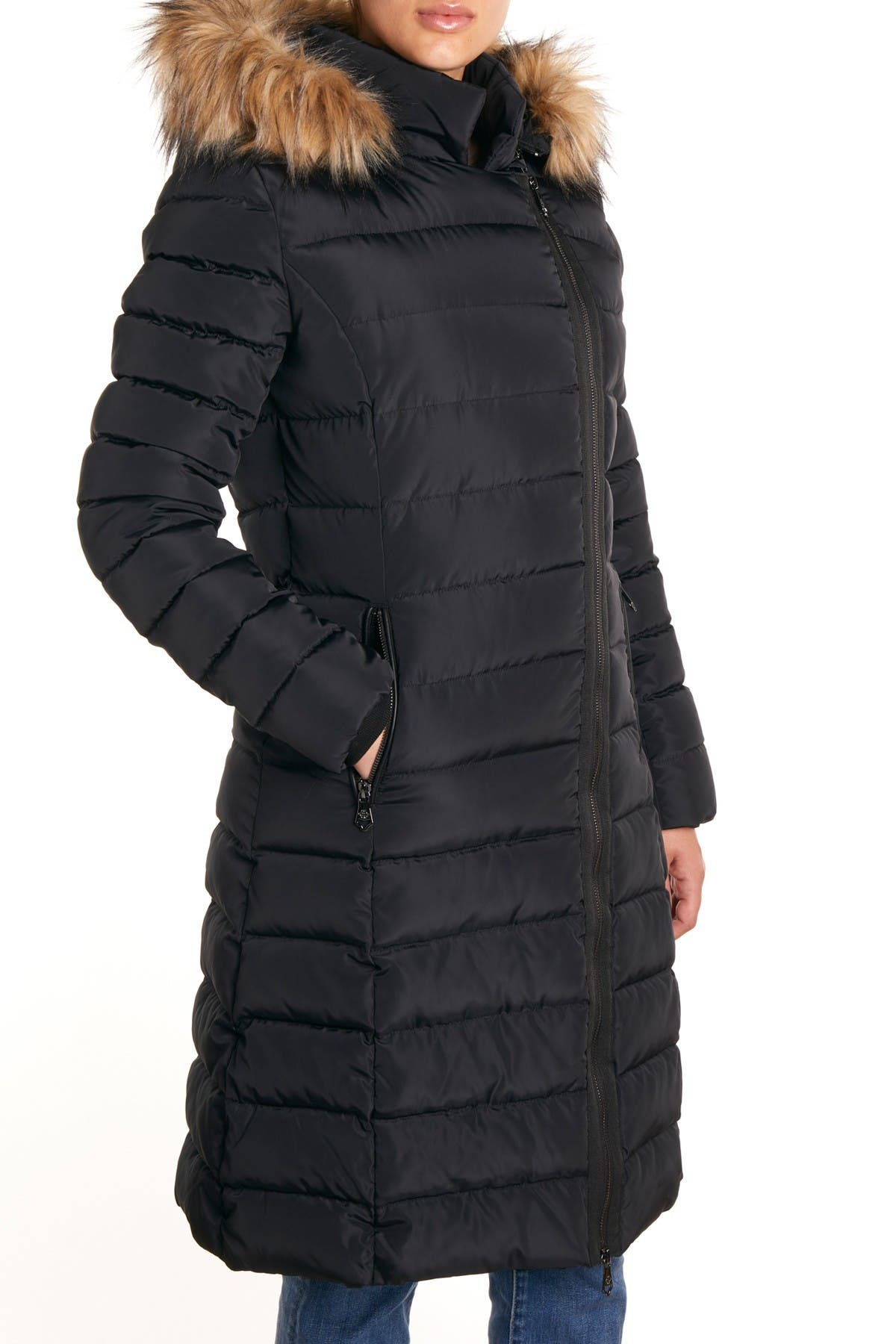 Image of Nanette Lepore Long Faux Fur Hooded Puffer Coat