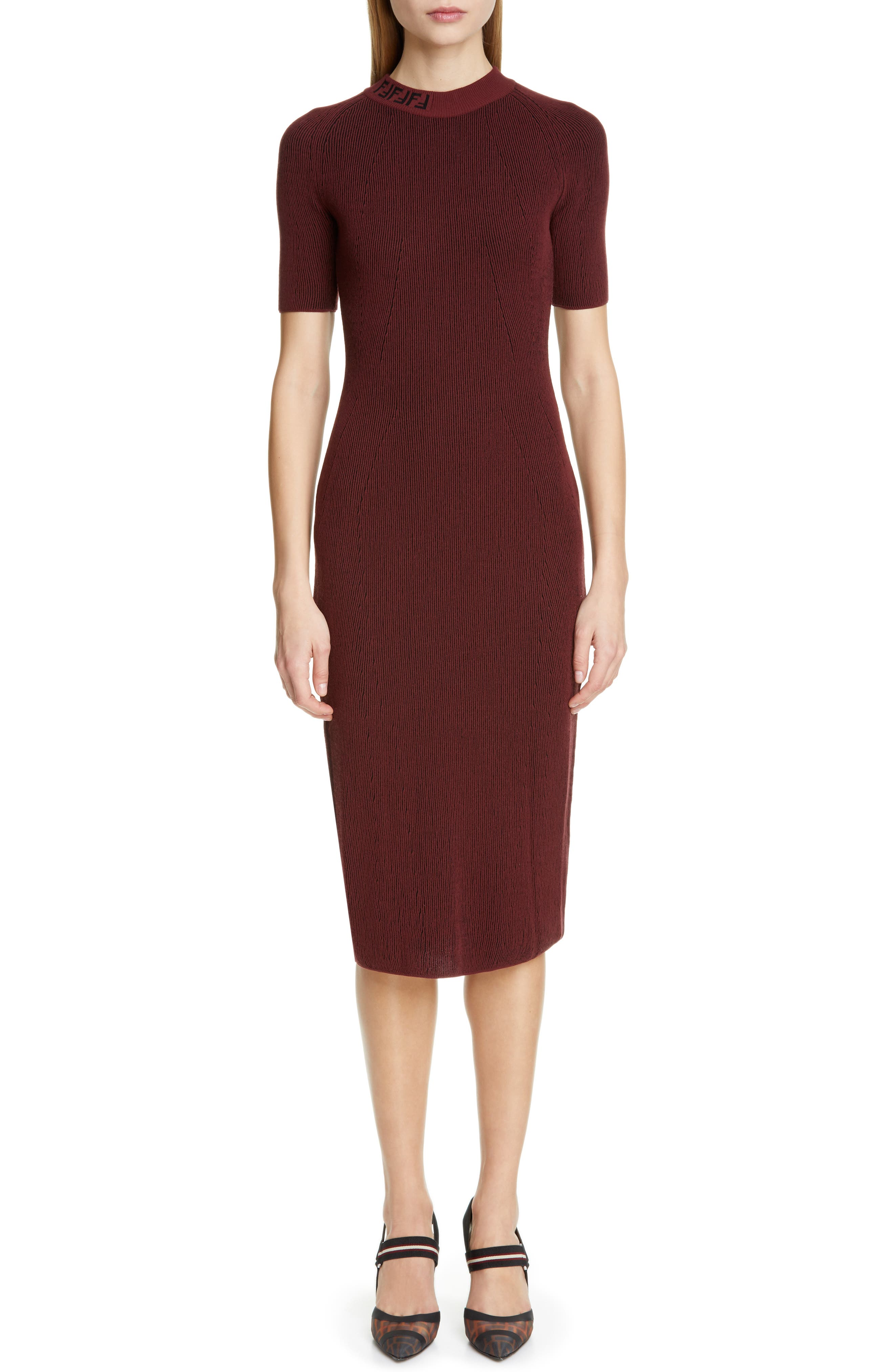 Fendi Rib Sweater Dress, US / 44 IT - Burgundy
