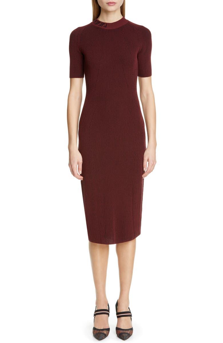 FENDI Rib Sweater Dress, Main, color, BLACK