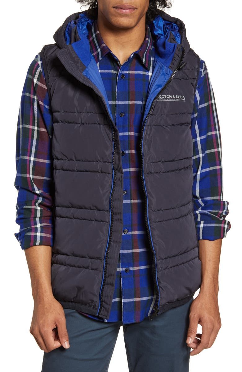 SCOTCH & SODA Hooded PrimaLoft<sup>®</sup> Vest, Main, color, NIGHT