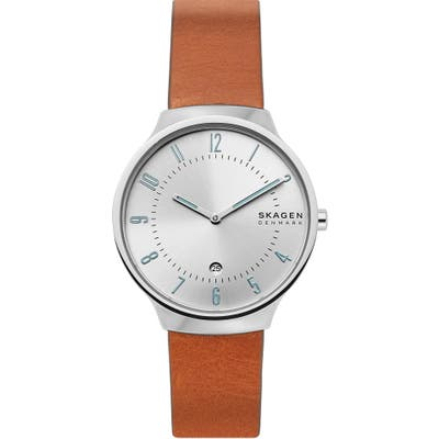 Skagen Grenen Leather Strap Watch,