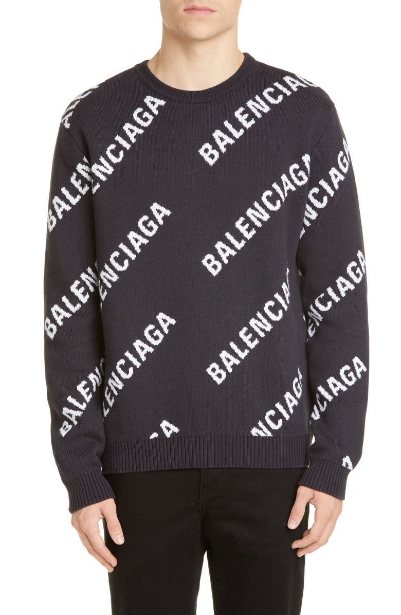 BALENCIAGA Logo Sweater, Main, color, NAVY WHITE