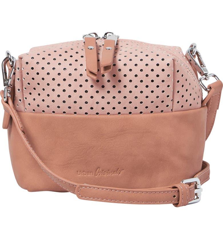 URBAN ORIGINALS Let Me Be Perforated Vegan Leather Crossbody Bag, Main, color, PINK/ TAN