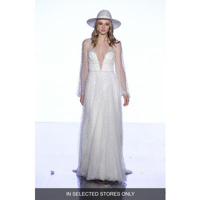 Willowby Pisces Beaded Tulle Long Sleeve A-Line Wedding Dress, Size - Ivory