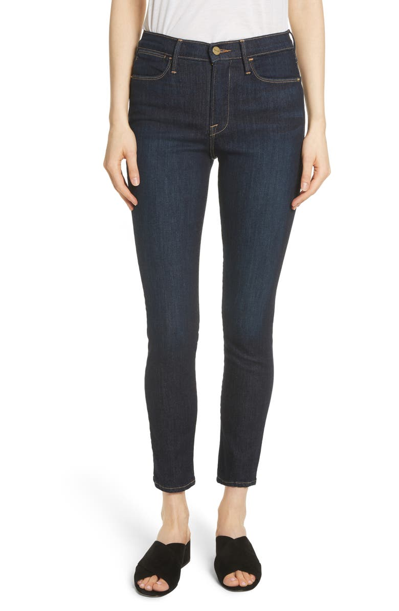 FRAME Le High Ankle Skinny Jeans, Main, color, 401