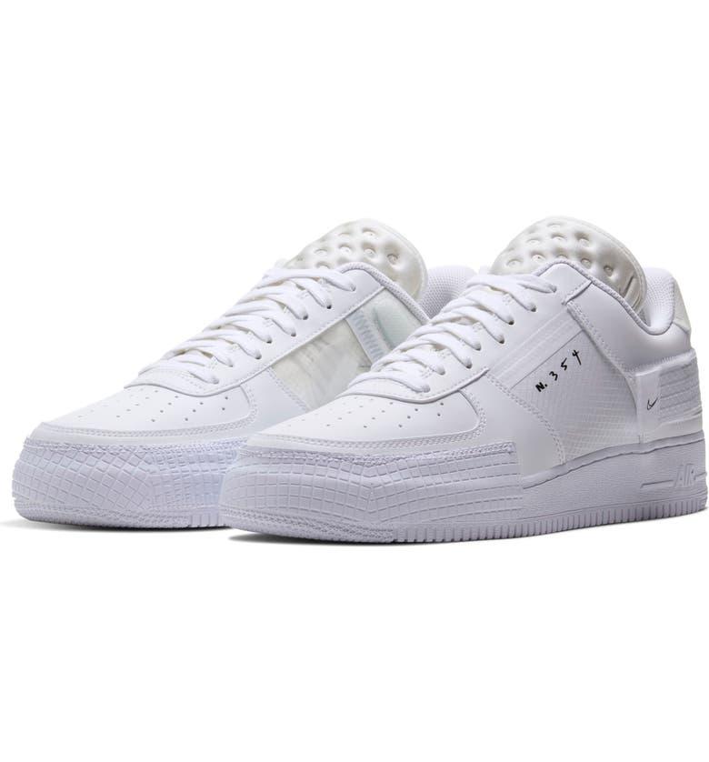NIKE Air Force 1 Type Sneaker, Main, color, WHITE/ WHITE/ WHITE